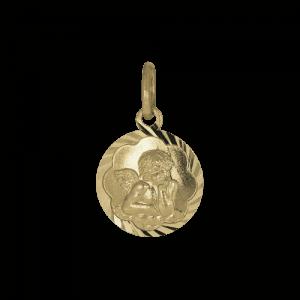 45695 - Schutzengel in Gelbgold, in Bögen diamantiert, denkender Engel, 14 Karat, Taufanhänger, Anhänger, Goldanhänger