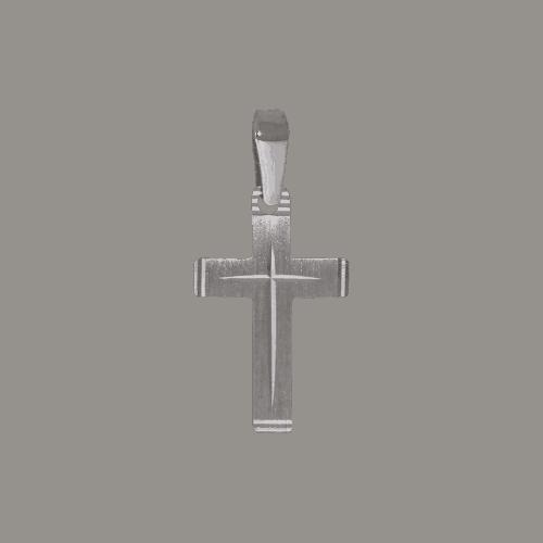 55752 - Taufkreuz in Weißgold, 14 Karat, diamantiert, Taufanhänger, Taufkette, Kreuz, Anhänger, weiß