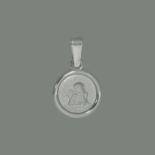 55472 - Schutzengel, rund, Rand pombiert, 925, Sterlingsilber, Silber, Engel, Taufanhänger, Kettenanhänger, Silberanhänger, Taufkette
