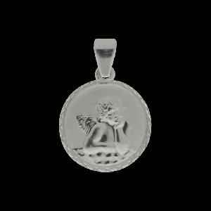 55476 - Schutzengel, rund, Rand diamantiert, 925, Sterlingsilber, Silber, Engel, Anhänger, Taufe