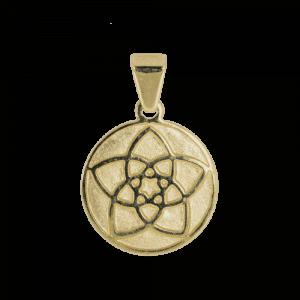57935 - Venusblume, massiv, 14 Karat, Gelbgold, Talisman, Schutz, Energie, Taufkette, Kinderschmuck, Kinderanhänger