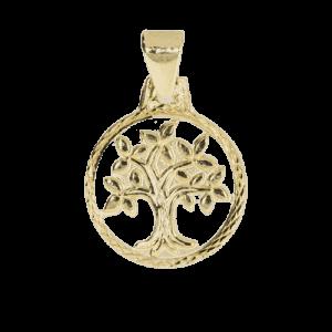 57936 - Lebensbaum, rund, durchbrochen, 14 Karat, Gelbgold, Weltenbaum, Kinderschmuck, Taufkette, Talisman, Glücksbringer