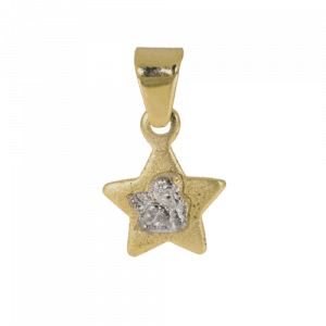 57967 - Stern mit Schutzengel in Gelbgold und Weißgold, bicolor, Taufanhänger, Kinderkette, Taufschmuck, Taufgeschenk