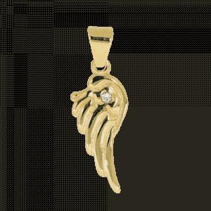 57968 - Engelsflügel mit Kristall, 14 Karat, Gelbgold, Gold, Schutzengel, Flügel, Anhänger, Kettenanhänger, Schmuck