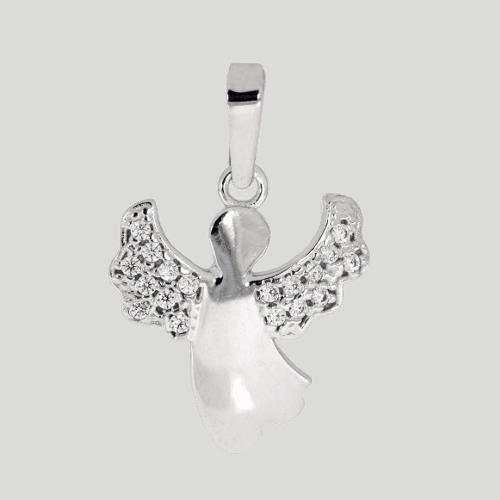 57970 - fliegender Engel mit Zirkonia, 14 Karat, Weißgold, funkelnde Steine, Engelsanhänger, Kettenanhänger, Weißgoldanhänger