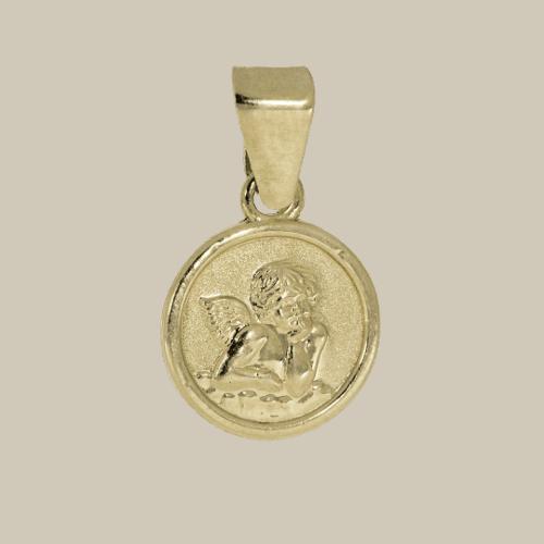 57991 - Engel in 14 Karat Gelbgold, denkender Engel, Rafael, Schutzengel, Taufe, Taufanhänger, Gold, Kinderanhänger, mini