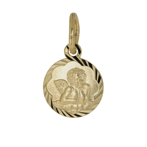 57994 - Schutzengel in Gelbgold mit Bogenrand, diamantiert, Taufkette, Taufanhänger, Engel, Gold, Glanz, Kettenanhänger