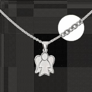 31300 - Set mit Ankerkette und Engelsfigur in 925 Sterlingsilber, Silber, Engel, Schutzengel, Taufgeschenk, Taufset, Kombination, Kette und Anhänger