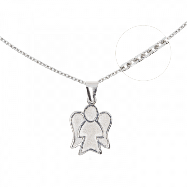 41300 - Set aus Karreekette und Engelsfigur in Silber, Sterlingsilber 925, Taufkombination, Taufgeschenk, Kinderkette, Geschenk
