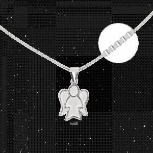 81300 - Silber-Set aus Venezianerkette und Engelsfigur, 925 Sterlingsilber, Schutzengel, Venezianer, Silber, Symbol, Talisman, Silberkombination